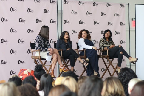 "Reshma Saujani (Founder, Girls Who Code), Marisa Shrum (Group Strategy Director, Mother NY), and Beverly Bond (Founder, Black Girls Rock) on the ""From A Hashtag to A Movement: How the Right Catchphrase Can Change Everything"" panel."