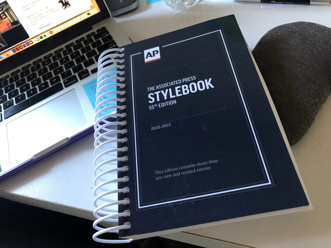 A picture of the 55th edition of the AP Style book.
