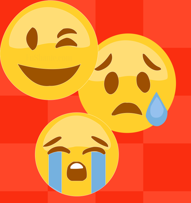 An illustration of three Emojis expressing three different emotions.